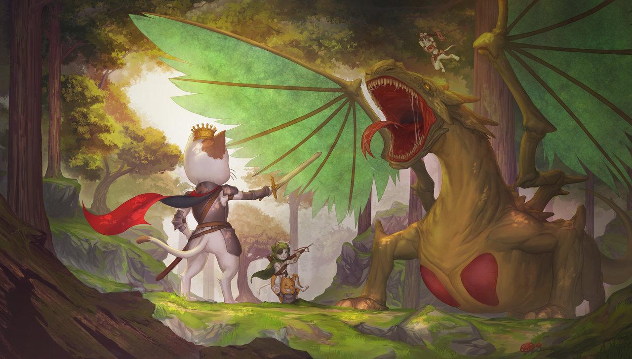 dragon_vs_kittens_by_marfrey-da3gyqa